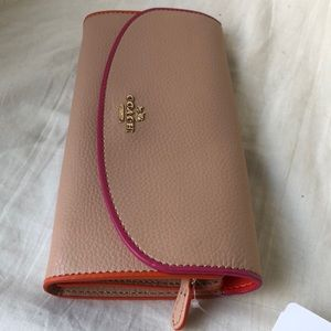 Coach Slim Envelope Pebbled Leather Wallet